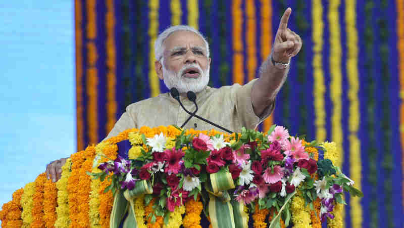 Narendra Modi addressing a public meeting, at Vadnagar, Gujarat on October 08, 2017 (file photo)