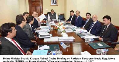 Prime Minister Shahid Khaqan Abbasi Chairs Briefing on Pakistan Electronic Media Regulatory Authority (PEMRA) at Prime Minister Office in Islamabad on October 11, 2017