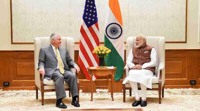The US Secretary of State, Mr. Rex Tillerson calls on the Prime Minister, Shri Narendra Modi, in New Delhi on October 25, 2017.