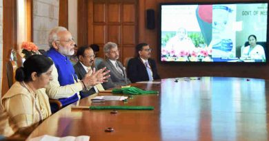 Narendra Modi addressing at the launch of connectivity projects between India and Bangladesh, via video conferencing with the Prime Minister of Bangladesh, Ms. Sheikh Hasina and the Chief Minister of West Bengal, Ms. Mamata Banerjee, in New Delhi on November 09, 2017