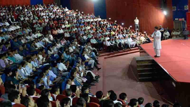 Rahul Gandhi addressing Ahmedabad's teaching community. Photo: Congress