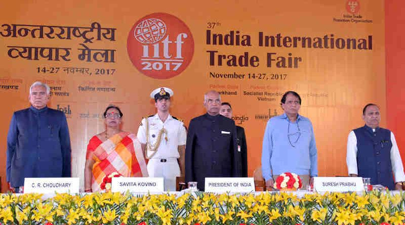 am Nath Kovind at the inauguration of the Startup India Theme pavilion at the 37th India International Trade Fair (IITF), at Pragati Maidan, in New Delhi on November 14, 2017