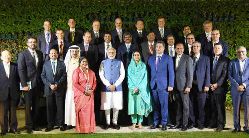 Narendra Modi with the Global CEOs of the Food Processing Sector as part of the ongoing World Food India event, in New Delhi on November 03, 2017
