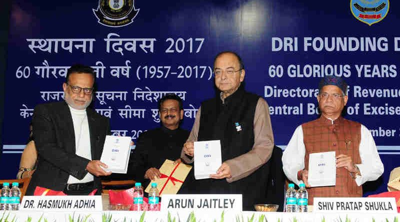 Arun Jaitley releasing the publication, at the Diamond Jubilee Celebrations of the Foundation Day of Directorate of Revenue Intelligence (DRI), in New Delhi on December 04, 2017