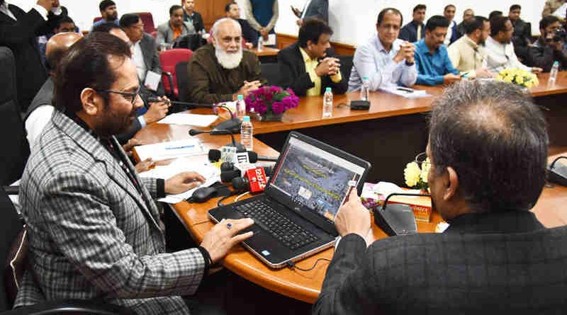 Mukhtar Abbas Naqvi launching the portal for Haj Tour Operators, in New Delhi on December 14, 2017.