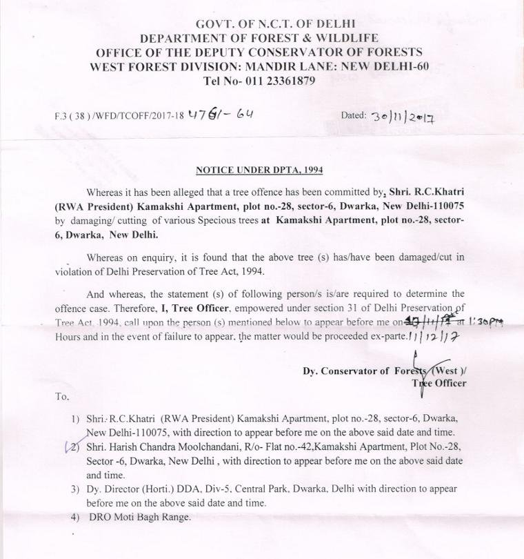 The tree offence notice sent to the President of Kamakshi Apartments by the Department of Forest & Wildlife of the Delhi Government.