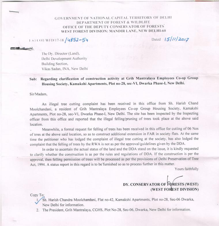 The letter sent to the DDA by the Department of Forest & Wildlife of the Delhi Government.