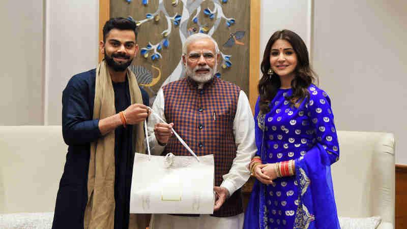 The captain of the Indian cricket team, Virat Kohli and actress Anushka Sharma calls on the Prime Minister, Narendra Modi, in New Delhi on December 20, 2017.