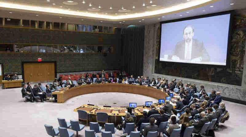 Zeid Ra'ad Al Hussein, High Commissioner for Human Rights, addresses Security Council meeting on the situation in the Democratic People's Republic of Korea via video conference. UN Photo/Rick Bajornas