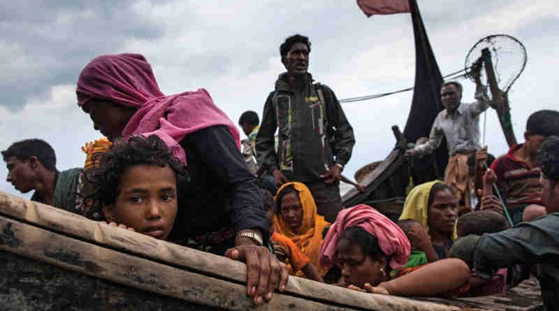 Newly arrived Rohingya refugees travel by boat from Myanmar on the Bay of Bengal to Teknaf in Cox's Bazar district, Chittagong Division in Bangladesh. Credit: UNICEF/Patrick Brown