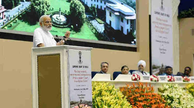 The Prime Minister, Shri Narendra Modi addressing at the event marking introduction of digital filing as a step towards paperless Supreme Court, in New Delhi on May 10, 2017.