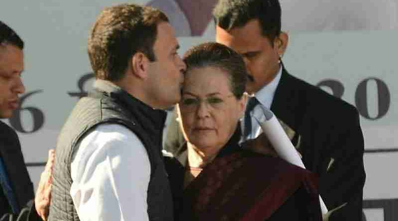 Congress President Rahul Gandhi with his mother Sonia Gandhi. Photo: Congress