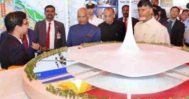 The President, Shri Ram Nath Kovind at the dedication of Andhra Pradesh Fibregrid, Andhra Pradesh Survelliance Project, Drone Project and FSOC, at Velagapudi, in Andhra Pradesh on December 27, 2017. The Governor of Andhra Pradesh and Telangana, Shri E.S.L. Narasimhan and the Chief Minister of Andhra Pradesh, Shri N. Chandrababu Naidu are also seen.
