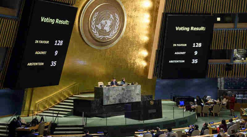 Panels in the General Assembly Hall showing the final count for the resolution on 'the status of Jerusalem, during the resumed 10th Emergency Special Session on Illegal Israeli actions in Occupied East Jerusalem and the rest of the Occupied Palestinian Territory. UN Photo/Manuel Elias