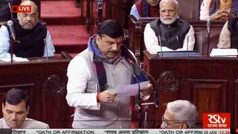 Sanjay Singh of AAP Taking Oath in Rajya Sabha. Photo: AAP