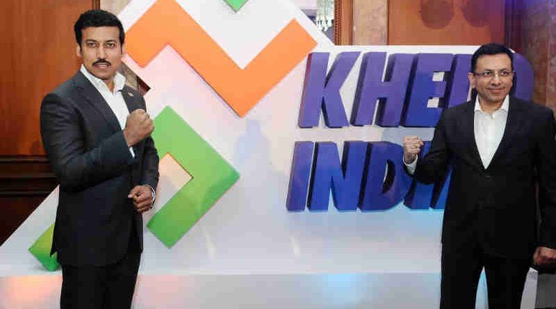 Col. Rajyavardhan Singh Rathore launching the Khelo India Anthem, at a function, in New Delhi on January 15, 2018