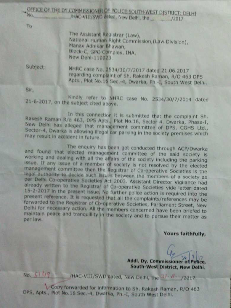 Letter from Delhi Police informing me that the DPS CGHS has refused to remove the illegal car parking. The case was sent to RCS office which did not take any action. Illegal car parking persists at DPS CGHS.
