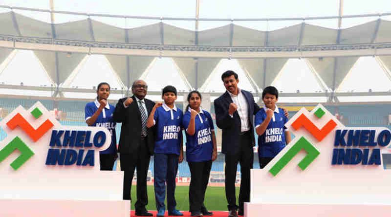 Rajyavardhan Singh Rathore at the launch of the Khelo India logo, at the Jawaharlal Nehru Stadium, in New Delhi on January 05, 2018