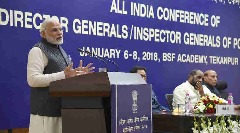 Narendra Modi addressing the Valedictory Ceremony at DGP/IGP Conference, at Tekanpur, in Madhya Pradesh on January 08, 2018