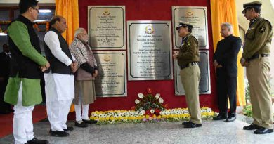 The Prime Minister, Shri Narendra Modi unveiled the plaques to mark the inauguration of five new buildings at the BSF Academy, during the Annual Conference of DGPs and IGPs, at Tekanpur, Madhya Pradesh on January 07, 2018. The Union Home Minister, Shri Rajnath Singh and the Minister of State for Home Affairs, Shri Kiren Rijiju are also seen. (file photo)