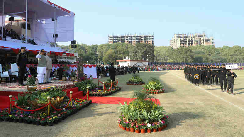 Rajnath Singh taking salute of the march past, during the Closing Ceremony of the 8th All India Police Commando Competition, at Manesar, Gurugram, in Haryana on January 20, 2018