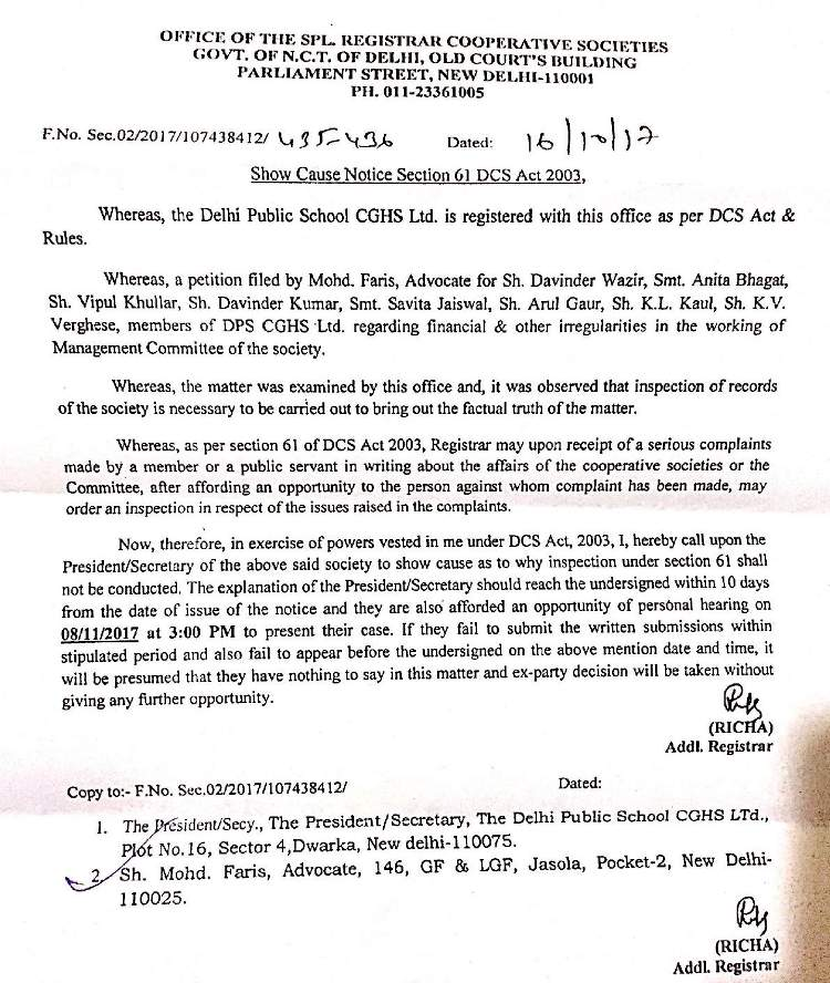 Show Cause Notice issued by RCS office to DPS CGHS MC in the case of financial and other irregularities. The DPS CGHS MC is trying to obstruct this inquiry dishonestly as it is refusing to show its dubious financial records to RCS office.