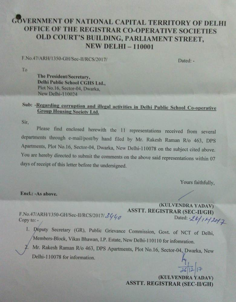 Letter from RCS office to DPS CGHS MC about 11 representations on corruption and illegal activities at DPS CGHS. The DPS CGHS MC could not give any satisfactory response.