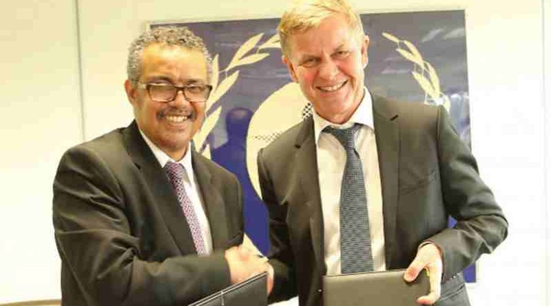 Dr. Tedros Adhanom Ghebreyesus, Director-General of WHO and Mr. Erik Solheim, head of UN Environment. Photo: UNEP