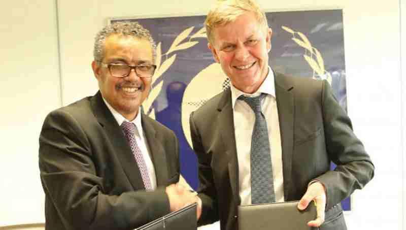Dr. Tedros Adhanom Ghebreyesus, Director-General of WHO and Mr. Erik Solheim, head of UN Environment. Photo: UNEP