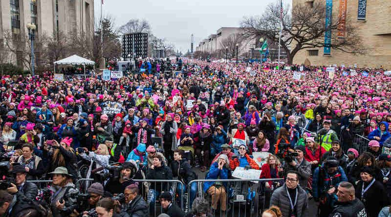 Picture from the stage of the crowd at the Women's March on Washington on January 21, 2017.