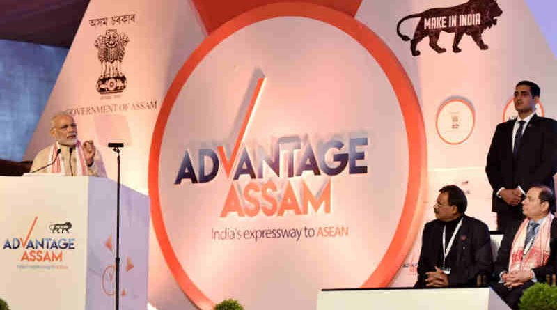 Narendra Modi addressing at the inaugural session of the Advantage Assam- Global Investors Summit 2018, in Guwahati, Assam on February 03, 2018