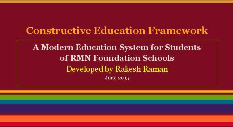 Constructive Education Framework by RMN Foundation