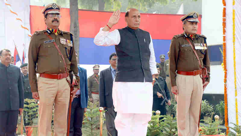 Rajnath Singh taking the salute, during the 71st Raising Day Parade of Delhi Police, in New Delhi on February 16, 2018 (file photo)