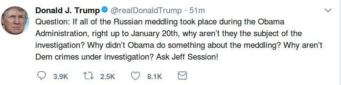 Trump's tweet with misspelt name of Jeff Sessions