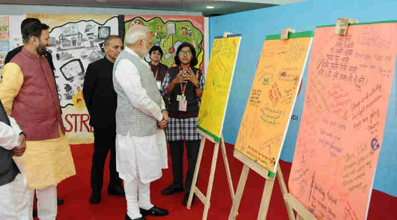 Narendra Modi at an interaction with the students, during the 'Pariksha Pe Charcha', at Talkatora Stadium, in New Delhi on February 16, 2018