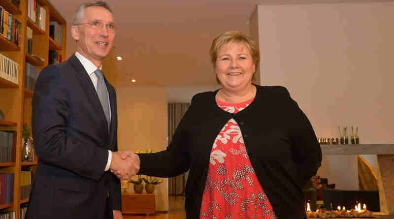 NATO Secretary General Jens Stoltenberg meets with the Prime Minister of Norway, Erna Solberg. Photo: NATO