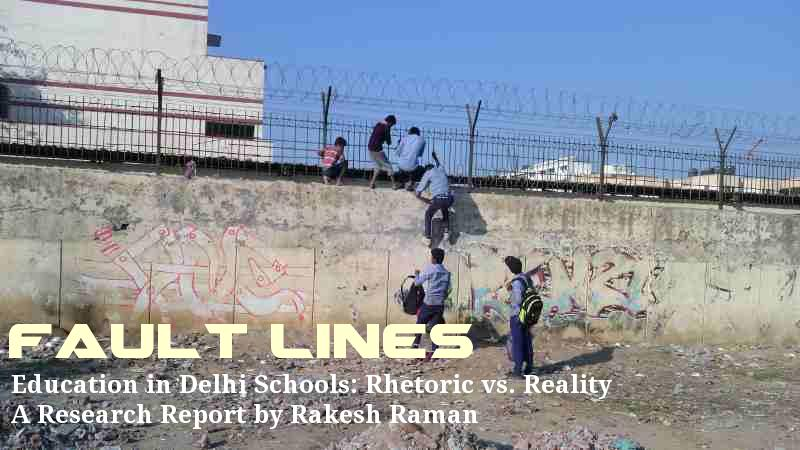 Students of a government school in Delhi cross high walls and barbed wires to abscond from the school. Teachers have no control on students. Photo by Rakesh Raman