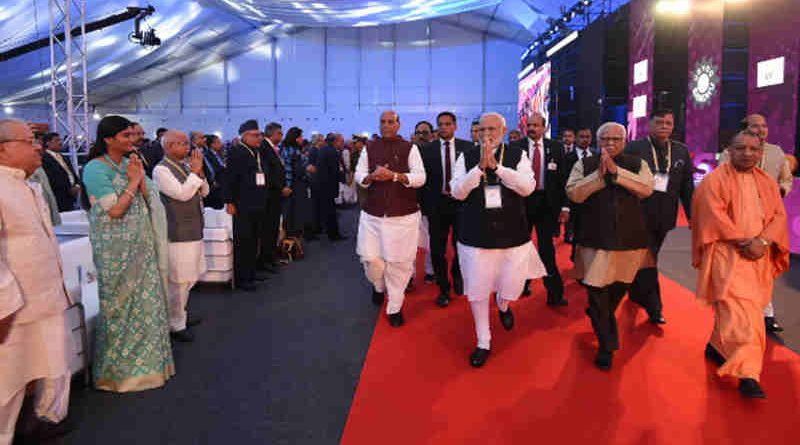 Narendra Modi at the inauguration of the UP Investors Summit 2018, in Lucknow, Uttar Pradesh on February 21, 2018