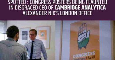 BJP has revealed fresh details, saying that Congress posters have been spotted in Cambridge Analytica London office.
