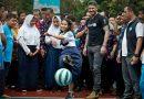 David Beckham Meets Children Tackling Violence in Classroom