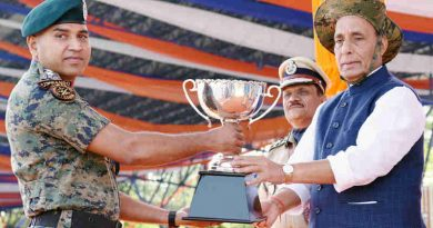 Rajnath Singh presenting trophies on the occasion of CRPF's 79th Raising Day Parade, in Gurugram, Haryana on March 24, 2018