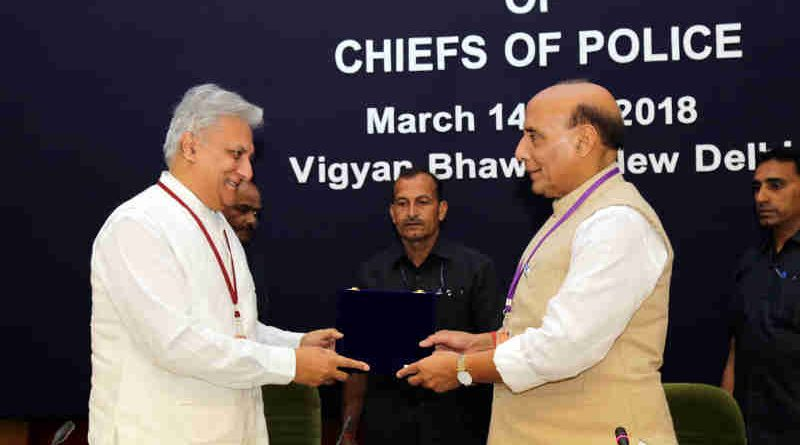 The Union Home Minister, Shri Rajnath Singh being presented a memento by the Director, IB, Shri Rajiv Jain, at the inauguration of the two-day Asia-Pacific Regional Conference of the International Association of Chiefs of Police (IACP), in New Delhi on March 14, 2018.