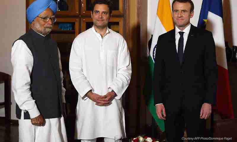 Rahul Gandhi with Manmohan Singh and Emmanuel Macron. Photo courtesy: Rahul Gandhi / Twitter