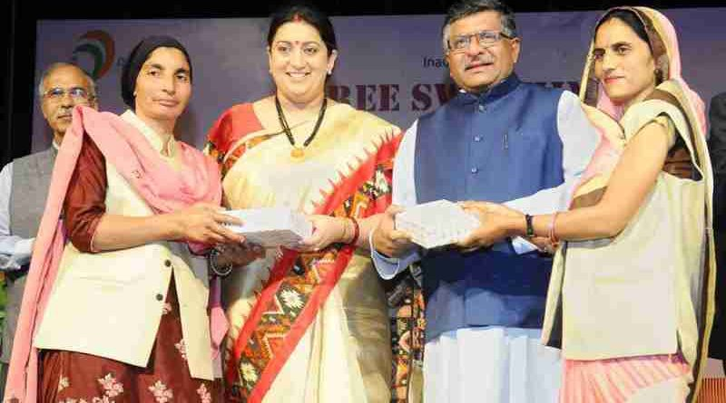 "Ravi Shankar Prasad and Smriti Irani at the inauguration of the workshop on ""Stree Swabhiman: CSC Initiative for promoting Women's Health & Hygiene"", on the International Women's Day, in New Delhi on March 08, 2018"