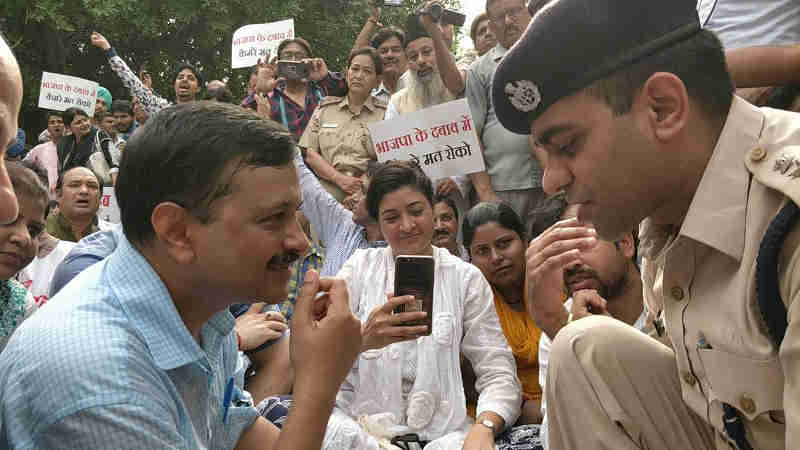 Arvind Kejriwal protesting in front of LG office on May 14, 2018. Photo: AAP