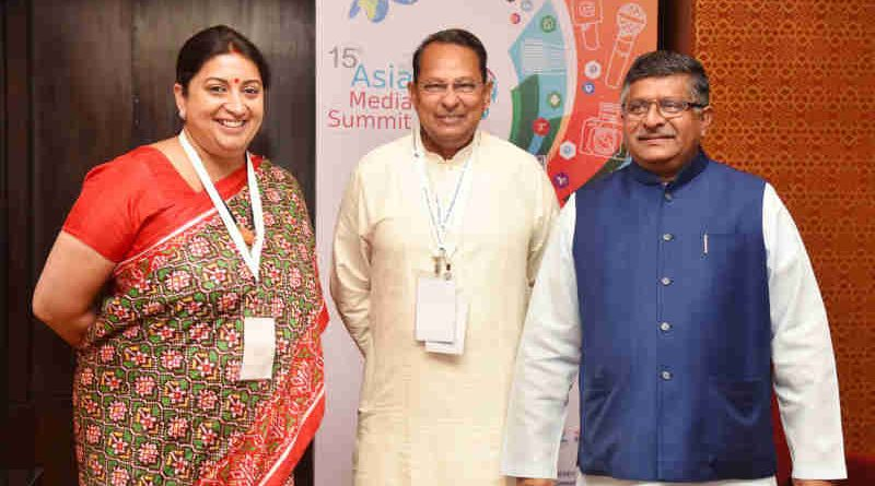The Union Minister for Textiles and Information & Broadcasting, Smt. Smriti Irani, the Union Minister for Electronics & Information Technology and Law & Justice, Shri Ravi Shankar Prasad and the Minister of Information, Bangladesh, Mr. Hasanul Haq Inu, at the 15th Asia Media Summit, in New Delhi on May 10, 2018.