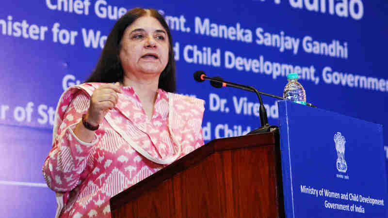 Maneka Sanjay Gandhi addressing at the National Conference on Beti Bachao Beti Padhao (BBBP) in New Delhi on May 04, 2018. (file photo)