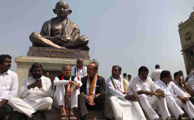 Congress leaders protesting outside Karnataka Vidhana Soudha against the swearing-in of B.S. Yeddyurappa as CM on May 17, 2018. Photo: Congress