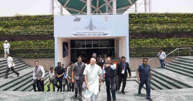 Narendra Modi visiting the Digital Art Gallery before inaugurating Delhi-Meerut Expressway, in New Delhi on May 27, 2018.