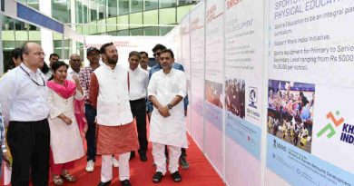 Prakash Javadekar visiting the exhibition at the launch of the 'Samagra Shiksha', in New Delhi on May 24, 2018
